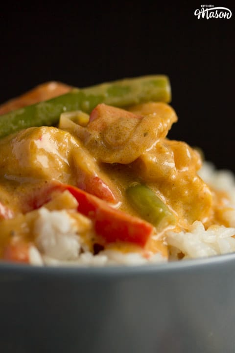 close up of vegetable thai red curry in a grey bowl with rice
