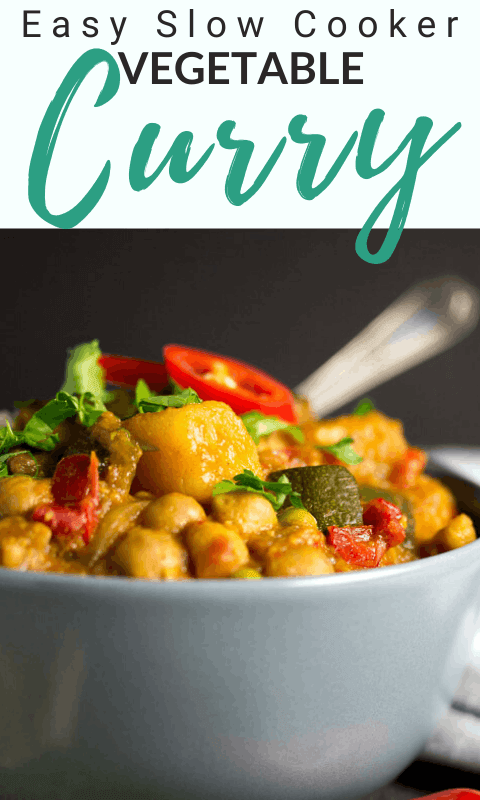 Slow cooker vegetable curry in a bowl topped wth fresh red chilli