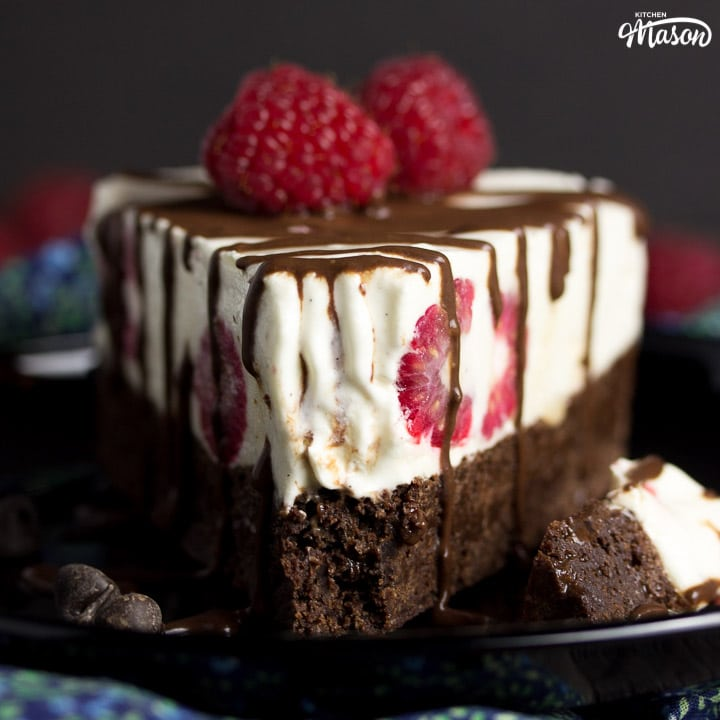 Vegan Gluten Free Raspberry Brownie Ice Cream Cake