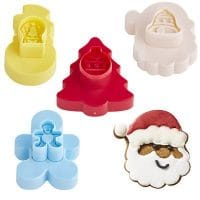 Set of 4 Double Sided Festive Christmas Cookie Biscuit Cutters (up to 8 x 9cm)