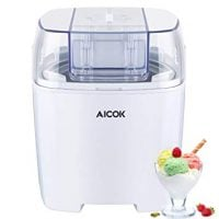 Aicok Ice cream maker with 1.5 litre, Sorbet maker with Timer Function for Frozen Chocolate, Yogurt and Fruits ice cream, Include recipe book, White