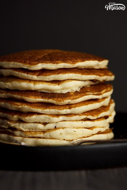 stack of vegan pancakes on a plate