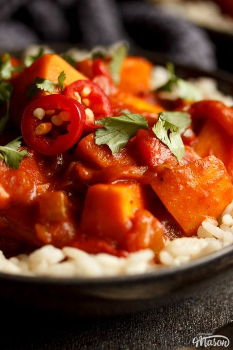 A bowl of sweet potato curry and rice