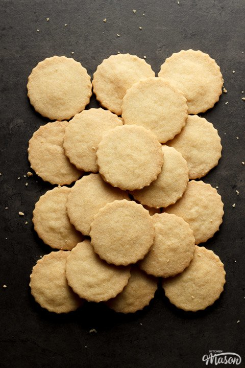 shortbread cookies in a pile on a work surface