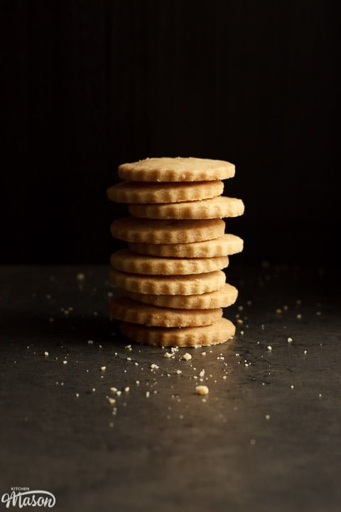 shortbread cookies in a stack