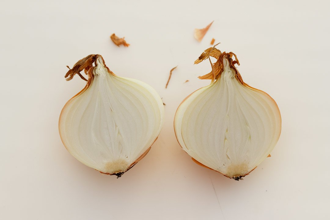 An onion that's been cut in half