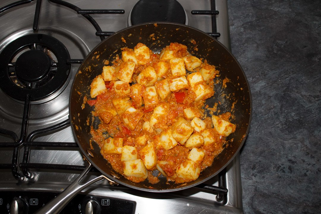 Bombay aloo in a large saute pan