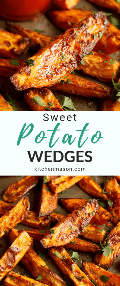 Baked sweet potato wedges on a baking tray