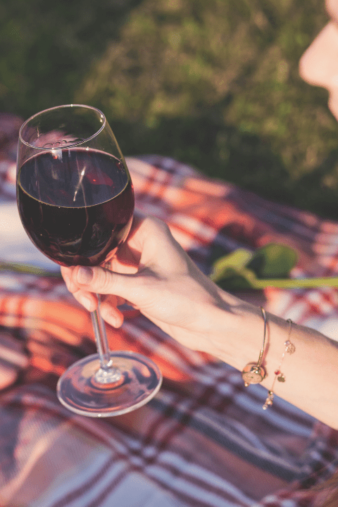 Someone holding a glass of red wine sat on a picnic blanket