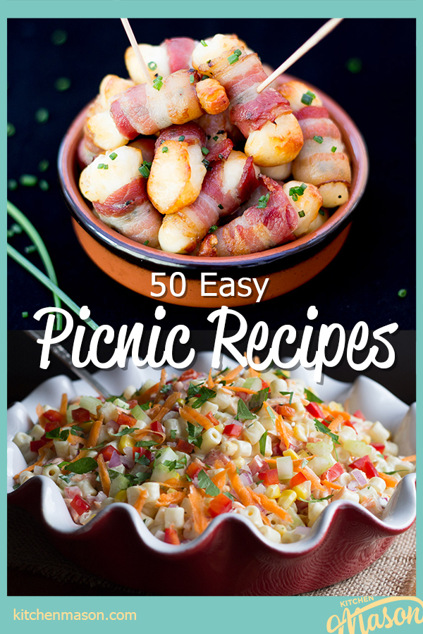 """Bacon halloumi bites in a bowl with cocktail sticks and a bowl of rainbow pasta salad in a red and white ceramic dish. A text overlay says """"50 easy picnic recipes""""."""