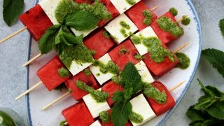 Watermelon Skewers with Feta and Mint Pesto