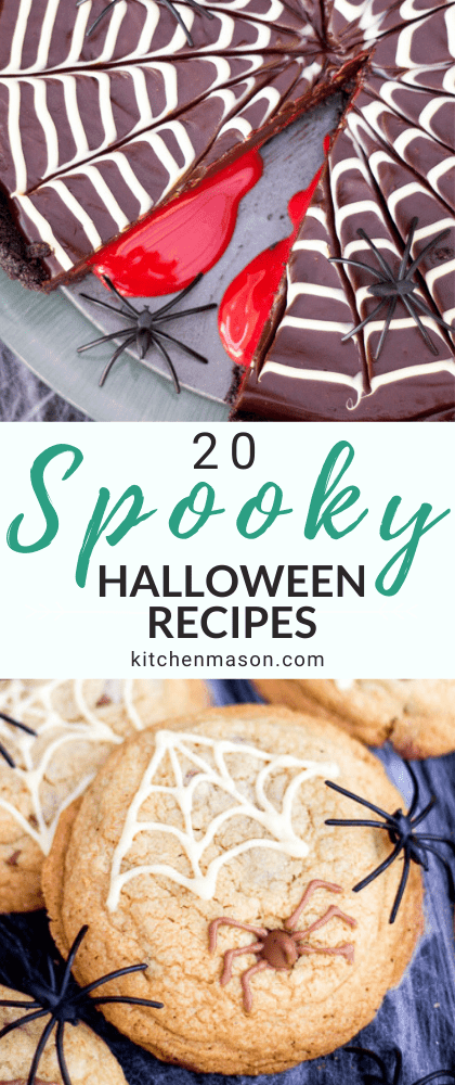 Spooktacular Halloween Food Ideas: bloody spider chocolate tart and spider cookies