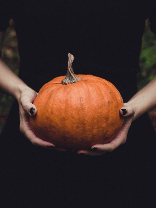 a woman holding a pumpkin