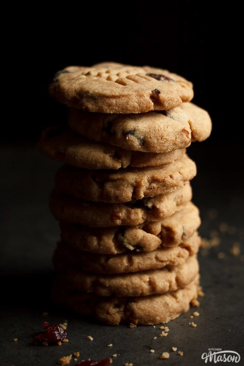 Cranberry Walnut Cinnamon Cookies in a stack