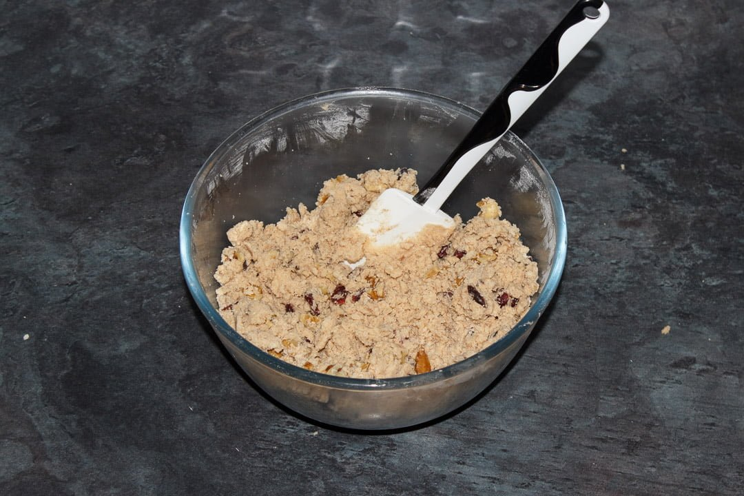 Cranberry Walnut Cinnamon Cookie dough in a bowl