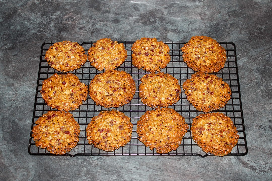 Florentine cookies on a cooling rack