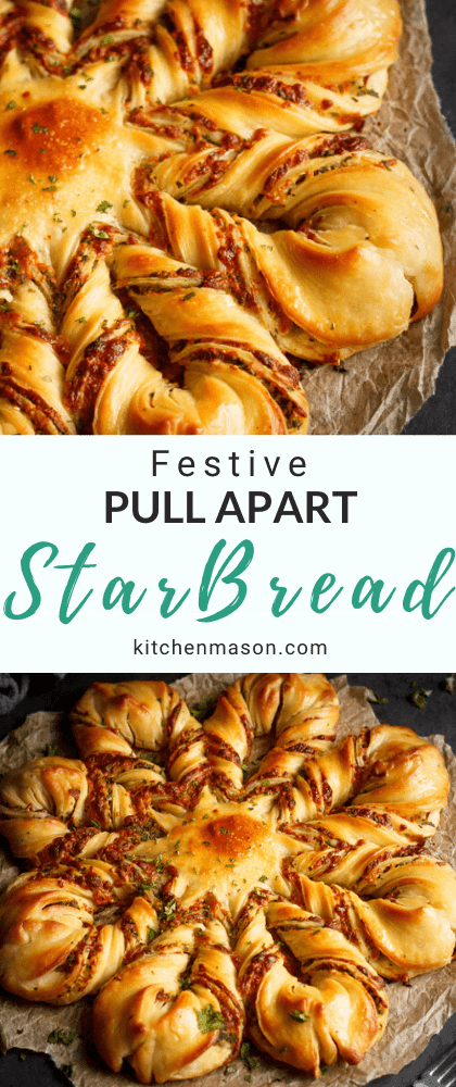 Festive Star Pull Apart Bread on a sheet of torn baking paper