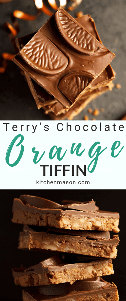 Stack of Terry's chocolate orange tiffin bars surrounded by crumbs, chocolate orange segments and curling ribbon