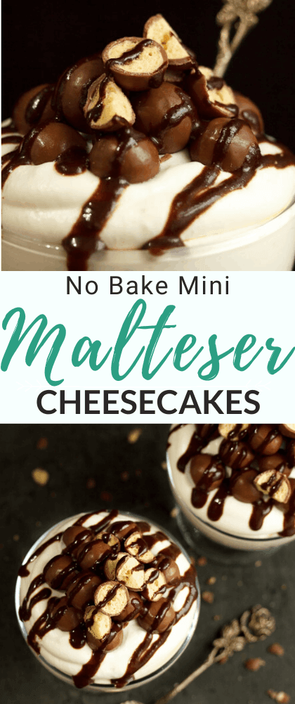 Mini No Bake Malteser Cheesecake in a glass bowl with a gold spoon