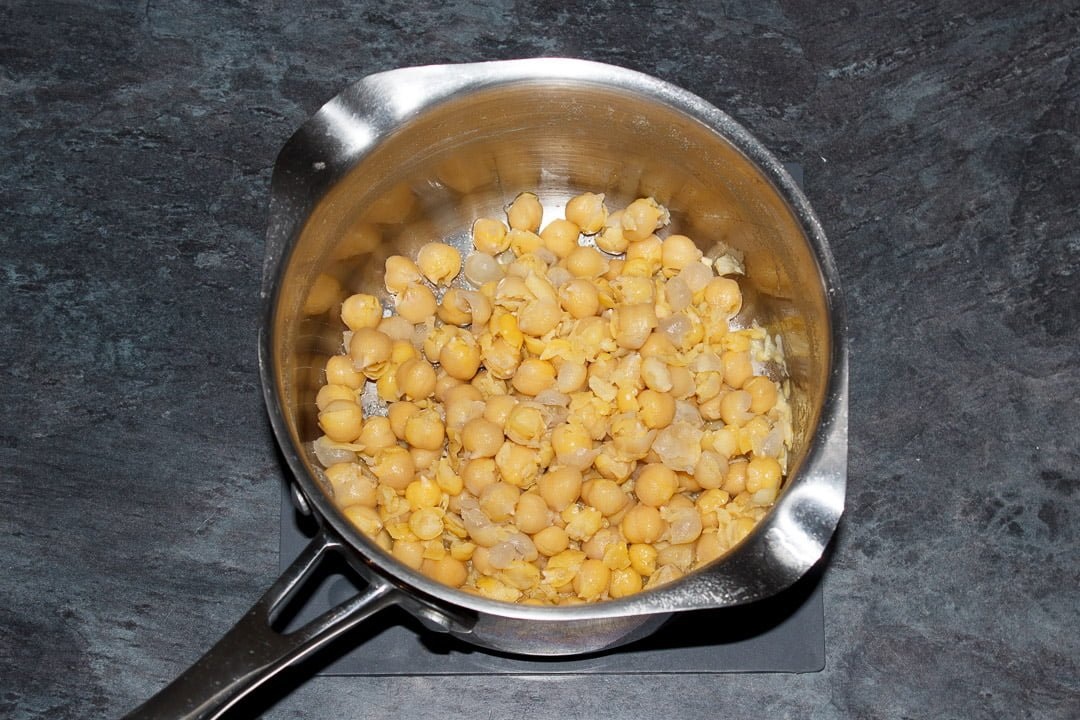 Drained chickpeas in a saucepan