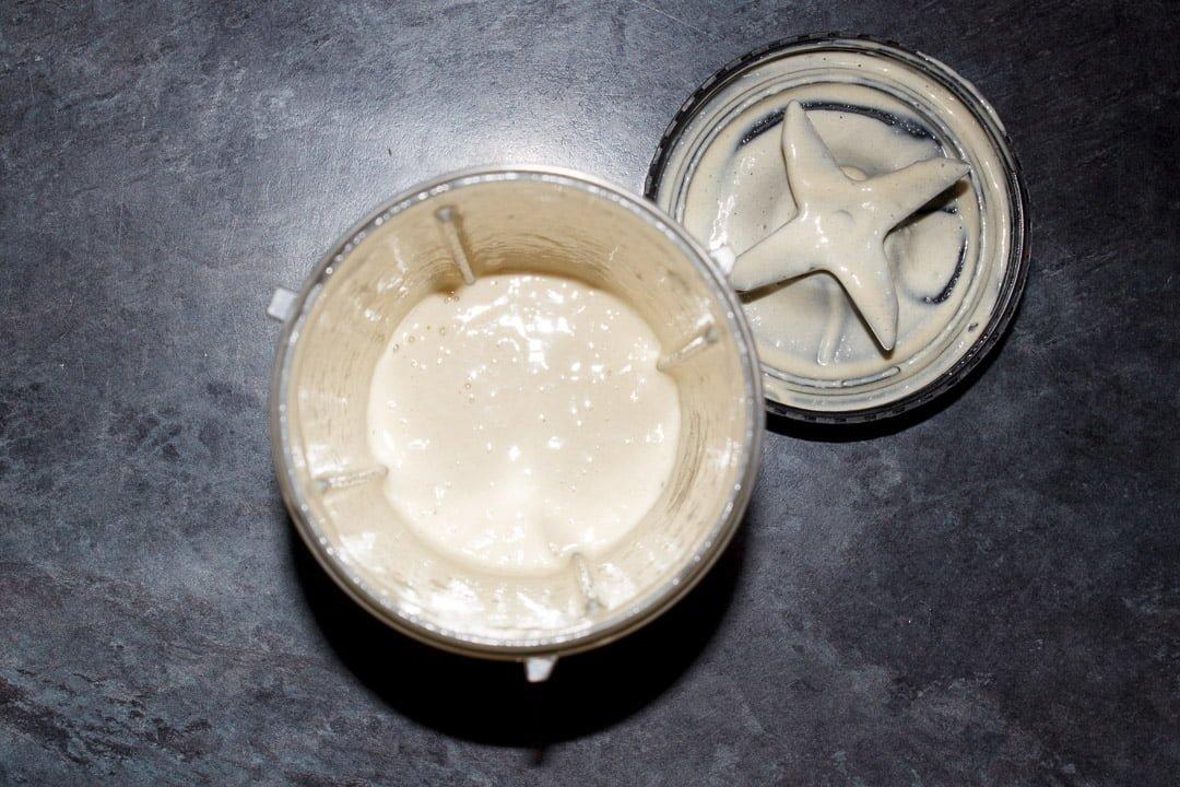 Lemon juice, garlic, tahini and salt blended in a nutribullet