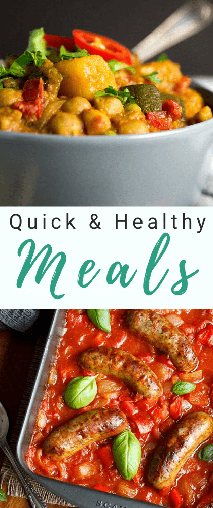 Vegetable curry in a bowl and roast sausage casserole in a roasting dish