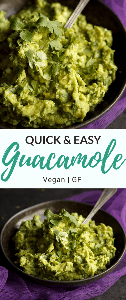 Quick and easy guacamole in a small bowl with a spoon on purple fabric