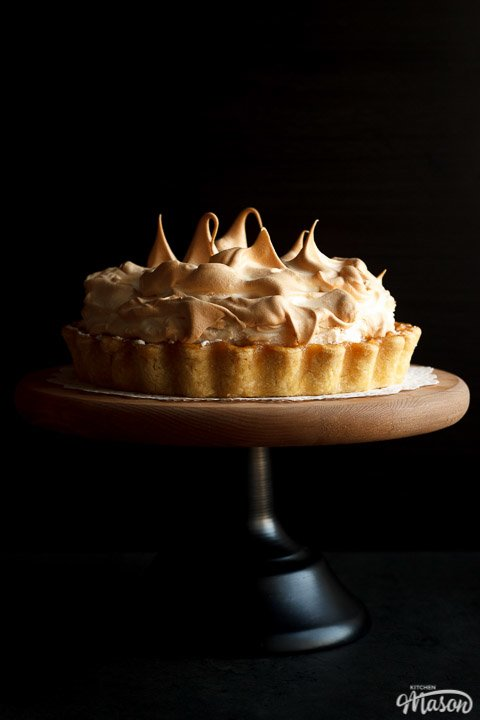 Lemon meringue pie on a cake stand
