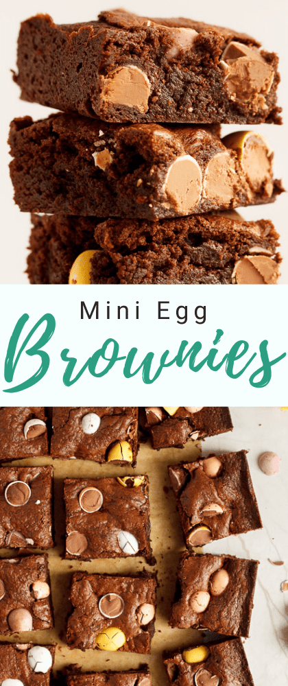 A stack of Mini Egg brownies and Mini Egg brownies sliced into bars on baking paper