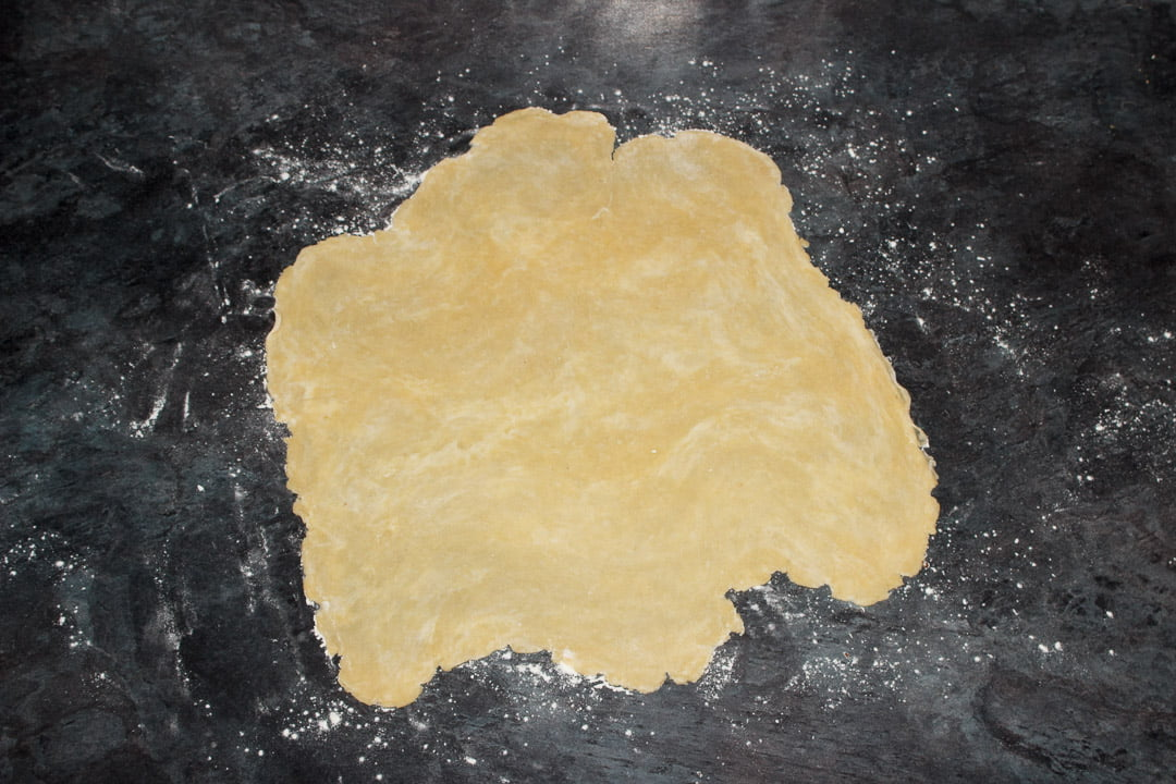 Shortcrust pastry rolled out to 2mm thick on a floured work surface