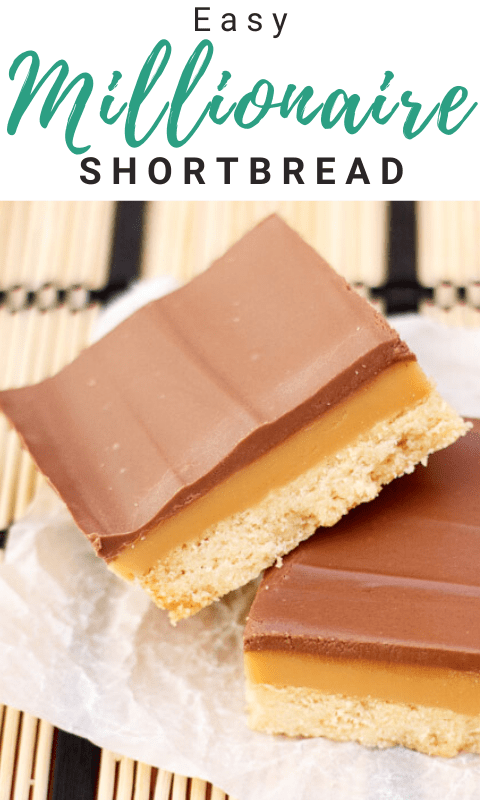 Millionaire's shortbread bar leaning on another bar on scrunched up white baking paper