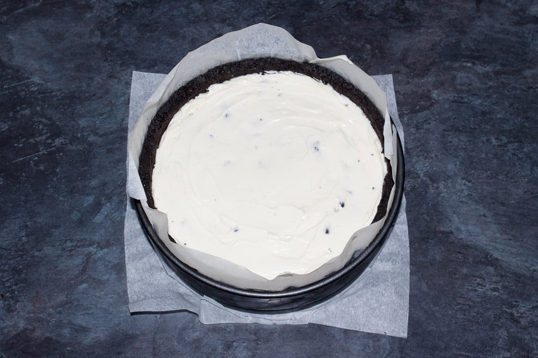 No bake Oreo cheesecake ready to be set in the fridge