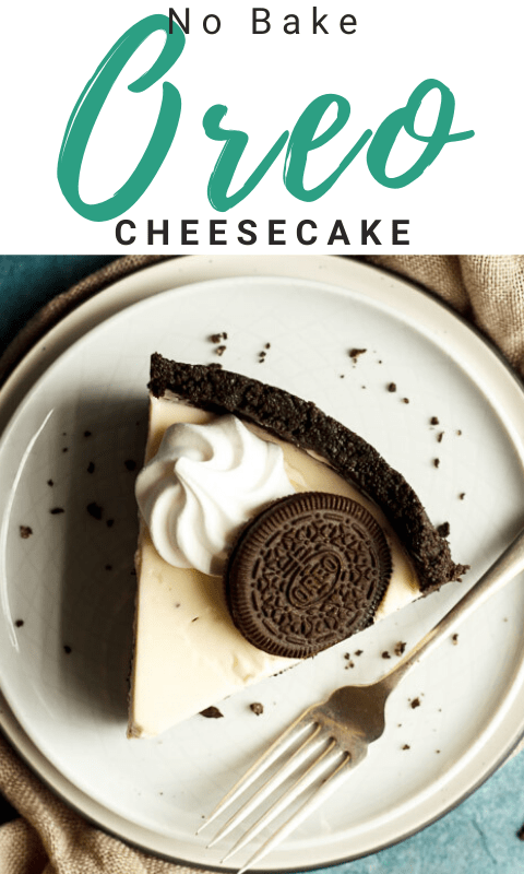 Slice of no bake Oreo cheesecake on a plate with a fork