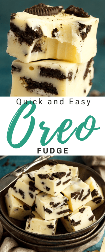 Oreo fudge in a stack and in a bowl