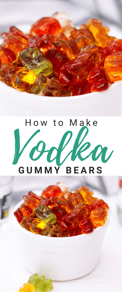 Vodka gummy bears in a white ramekin with gummy bears and a tea towel in the background