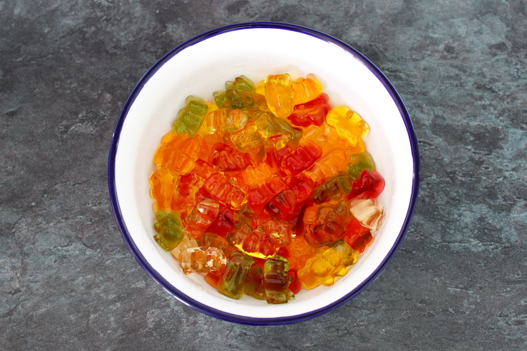 Vodka gummy bears in a white bowl