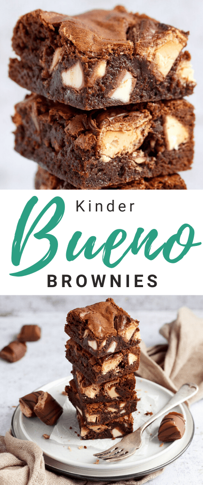 Kinder Bueno Brownies in a stack of 5 on a plate with a fork and 3 pieces of Kinder Bueno. With a light brown napkin and more Kinder Bueno pieces in the background.