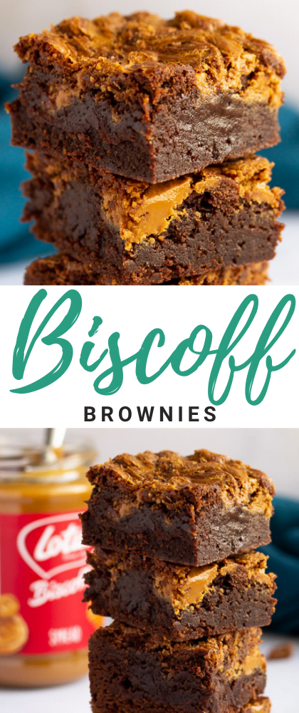 Biscoff brownies in a stack of 4 bars on a white work surface with a jar of Biscoff spread and a blue linen napkin in the background