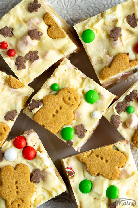 Close up of Christmas rocky road squares on a lace white plate