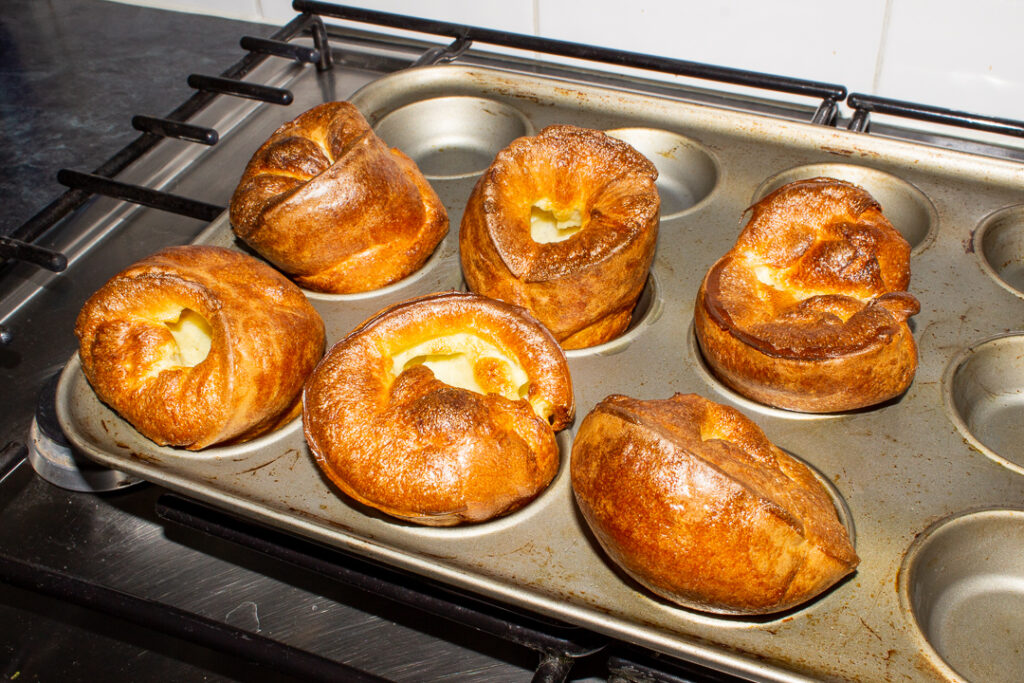 Baked Yorkshire puddings in a Yorkshire pudding pan (these had been rested for 4 hours)