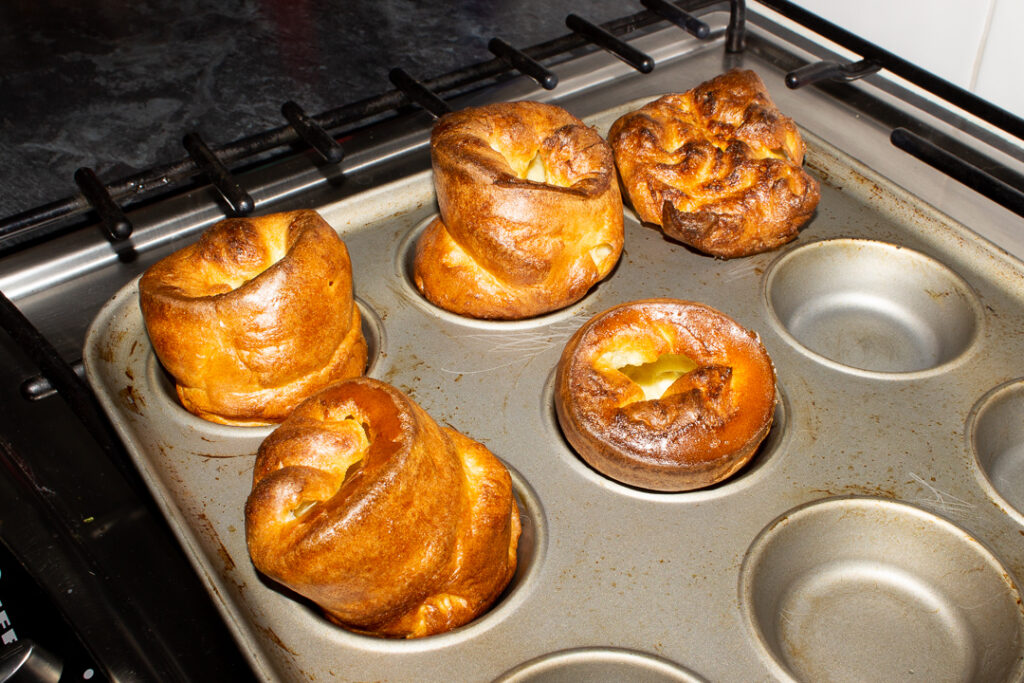 Baked Yorkshire puddings in a Yorkshire pudding pan (these had been rested for 1 hour)