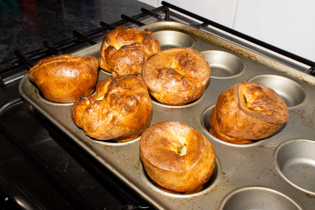 Baked Yorkshire puddings in a Yorkshire pudding pan (these had been rested for 2 hours)
