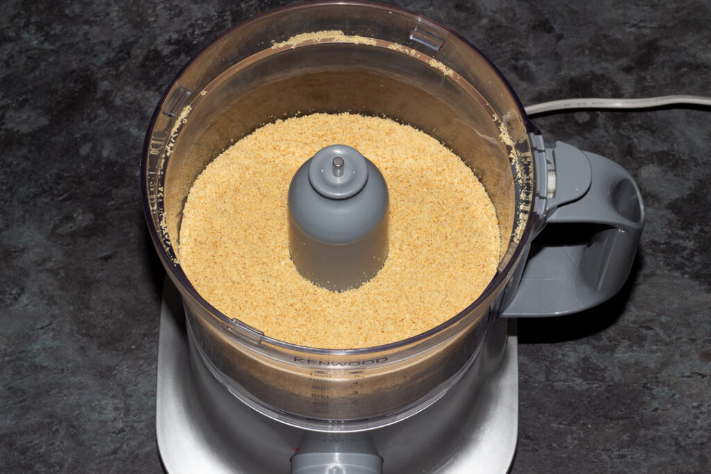 Biscuit crumbs in a food processor